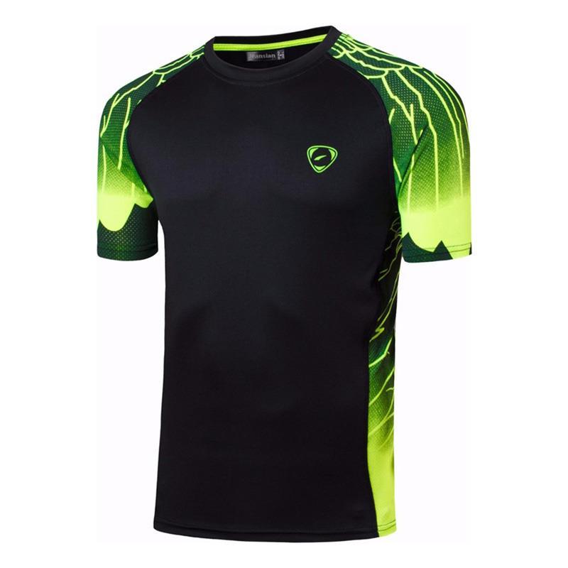 Jeansian Mannen Tshirt T-shirt T-shirt Sport Droog Fit Korte Mouw Running Fitness Workout LSL229 Black2