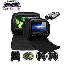 2 PCS 9 นิ้ว Car Headrest Monitor เครื่องเล่นดีวีดีพร้อมฝาครอบซิป TFT LCD รองรับ IR/FM Transmitte /USB/SD/ลำโพง/เกม