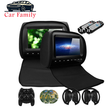 2 PCS 9 Inch Car Headrest Monitor DVD Player With Zipper Cover TFT LCD Screen Support IR/FM Transmitte/USB/SD/Speaker/Game