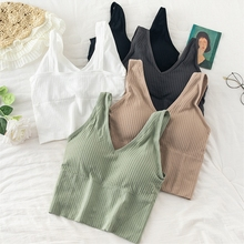 Women Sports Crop Tops Seamless Underwear Removable Padded Camisole Femme Female Tank Camis Sexy Lingerie Intimates