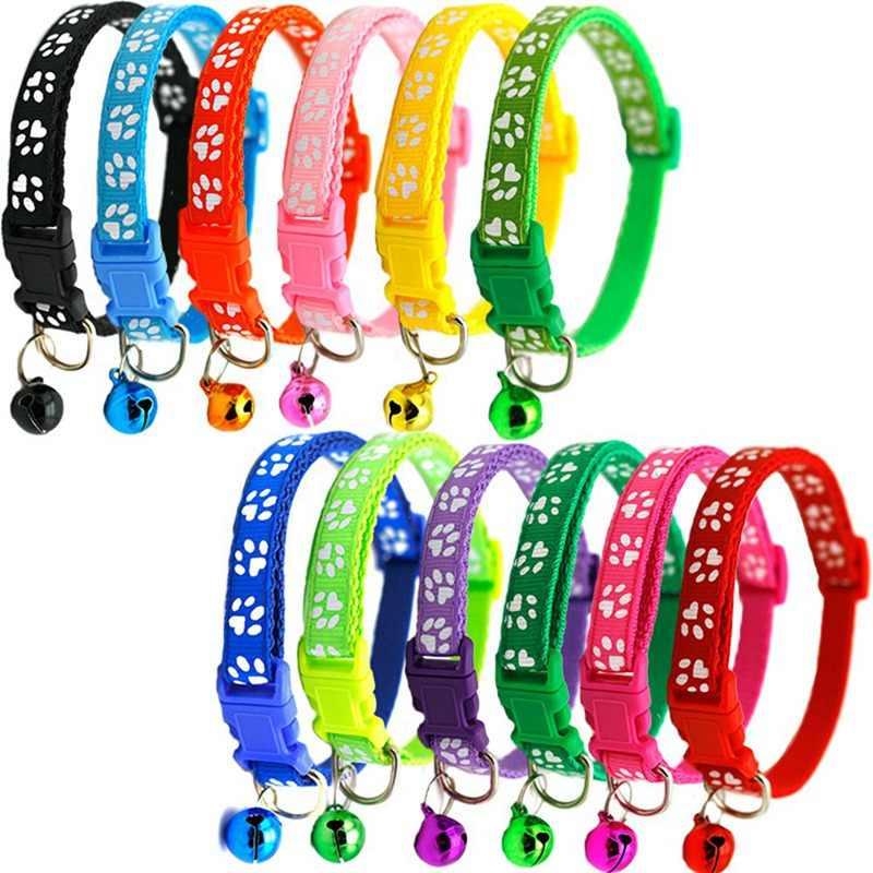 Collar para mascotas, Collar con diseño de huella de pie para perro y gato, Collar con hebilla ajustable para perro, accesorios para mascotas en 7 colores