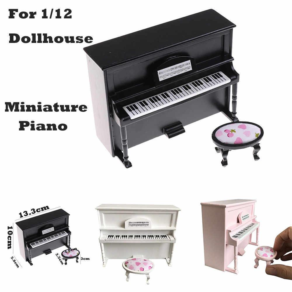 Dollhouse Miniature Furniture Wood Black Piano w// Stool for 1:12 Scale