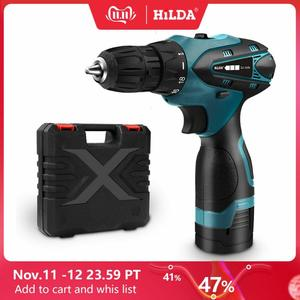 Image 1 - HILDA Electric Drill Cordless Screwdriver Lithium Battery  Mini Drill Cordless Screwdriver Power Tools Cordless Drill