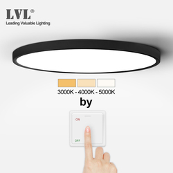 LED Ultra Thin Panel Light Black White Shell 18W 24W 32W Adjustable Lighting Color For Kitchen Bedroom Bathroom Panel Lamp