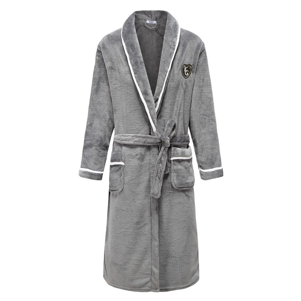 Winter Coral Fleece Men Kimono Gown Home Clothing Thick Bathrobe Belt Pocket Pyjamas Flannel Sleepwear Nightwear Negligee