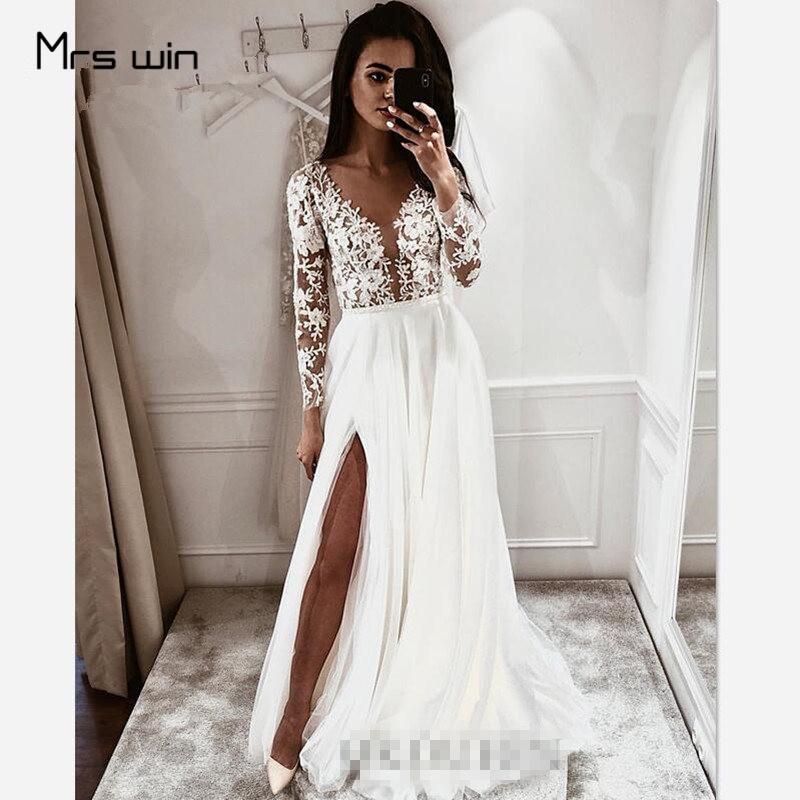 Mrs Win Wedding Dress V-neck Long Sleeve Wedding Dresses Hollow Lace Vestido De Noiva Plus Size Split Hems Bridal Gowns HR032