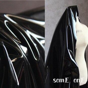 High Stretch Knit Fabric Shiny Black Imitation Leather 4-way Elastic DIY Tights Coat Stage Decor Dress Designer 50*150cm