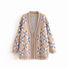Open Stitch Sweaters Knitted Women Wild Button V-Neck Spring and Autumn Coat Long Sleeve Tops Ladies Outwear