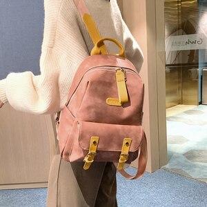 Image 3 - גבוהה באיכות נשים תרמיל עור מפוצל בית ספר נערות Bookbags נשי כתף תיק Bolsos דה Mchila דה Mujer