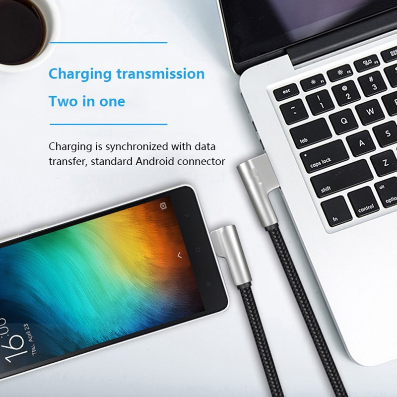 New Charging Cable For iPhone X 8 7 6 2 4A Fast USB TYPE C Charge Cable for Huawei Xiaomi Zinc Alloy Elbow Bent Angle Game Cable in Mobile Phone Cables from Cellphones Telecommunications