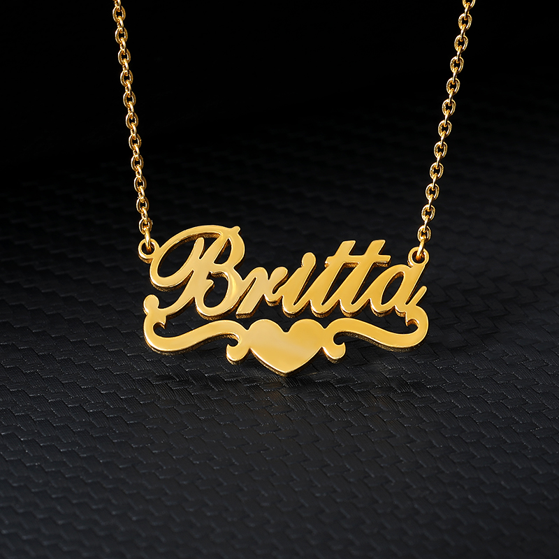 Custom Heart Necklace With Name Stainless Steel Personalized Ribbon Nameplate Pendants For Women Collares Mujer BFF Jewelry