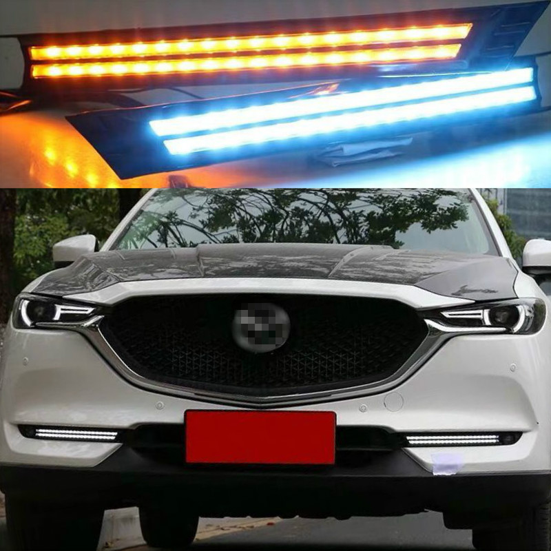 2Pcs For <font><b>Mazda</b></font> <font><b>CX</b></font>-<font><b>5</b></font> CX5 2017 2018 2019 DRL <font><b>LED</b></font> Daytime Running Light With Yellow Turning Signal night blue fog <font><b>lamp</b></font> image