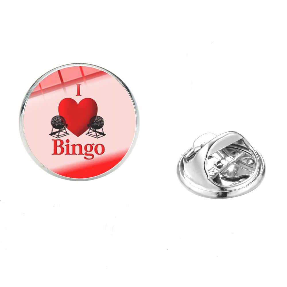SONGDA divertido I Love Bingo patrón broches juego Digital ganador símbolo cristal cabujón gema chaquetas camisa alfileres adornos