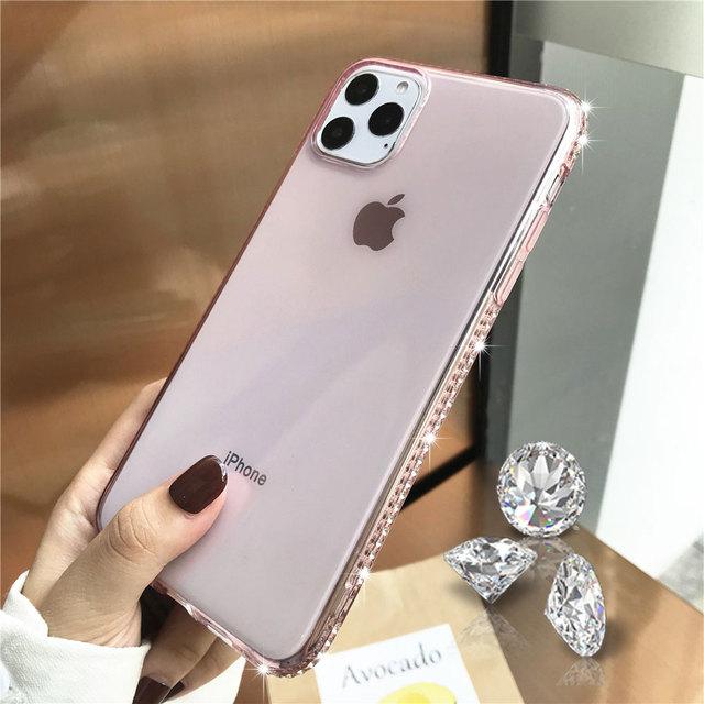 Diamond Bumper Transaprent Case For iphone 11 Pro MAX XR XS X 5s 6 6s 7 8 Plus Samsung A10 A20 A30 A50 A70 Cover Soft Phone Case