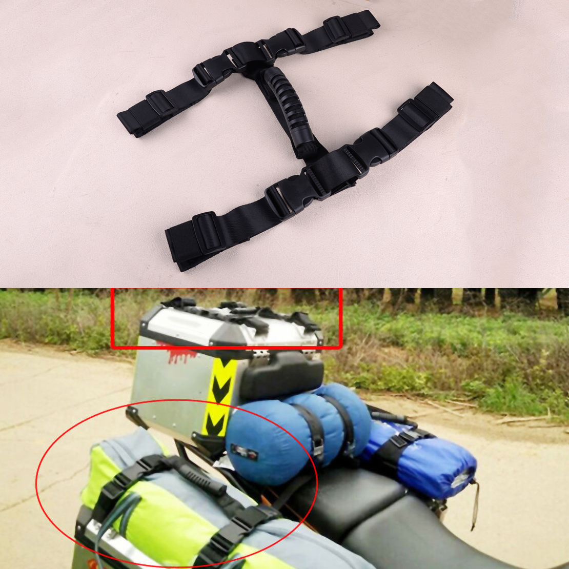 CITALL Black Side Box Pannier Rope String Handle Fit For BMW R1200GS LC ADV Adventure F700GS F800GS