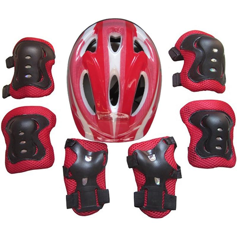 7Pcs/Set Kid Child Roller Skating Bike Helmet Knee Wrist Guard Elbow Pad Kit For 5-15 Years Old For Roller Skating/Skateboarding