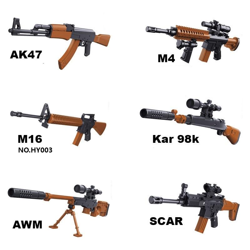 1:6 AK47 SCAR M14 M16 AWP Rifle Plastic Assemble Gun Model Toy For 12