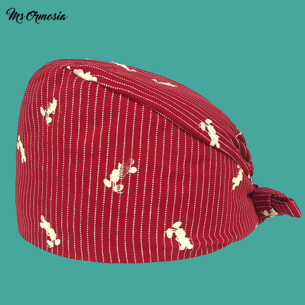 High Quality Red Printed Men And Women 100% Cotton Hospital Nurse Cap Band Elasticated Operating Room Surgical Cap Medical Hat