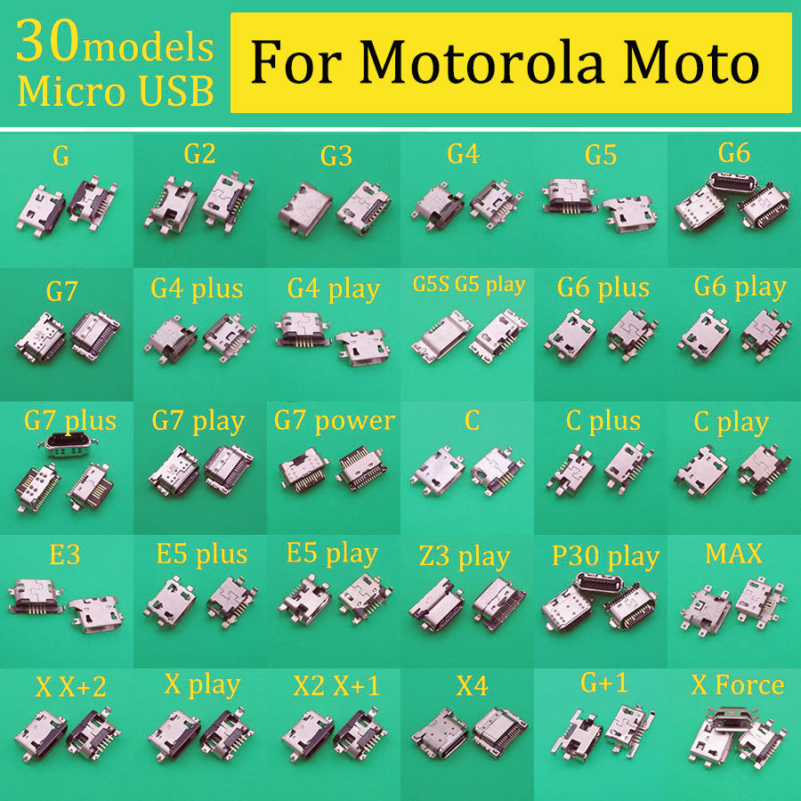 30models Micro USB Charging Connector Socket Port For Motorola Moto G G2 G3 G4 G5 G6 G7 G5S C E3 E5 Z3 P30 Play Plus MAX X X2