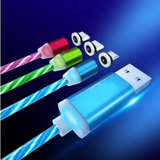 Luz led colorido tipo-c cabo usb para samsung cabo de carregamento rápido para xiaomi redmi nota cabo de cabo magnético cabos universais