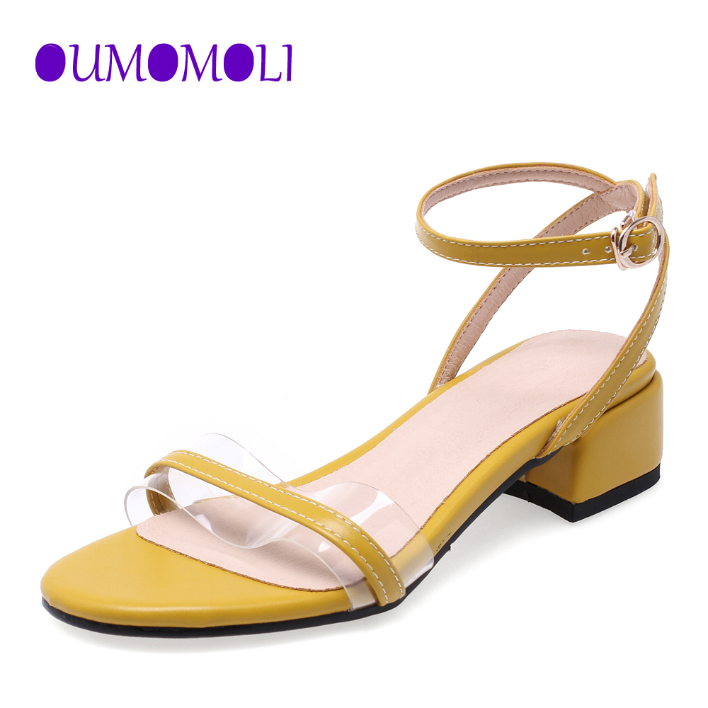 2020 Newest Women Pumps Shoes Square Heel Sandals PVC Clear Transparent Strappy Buckle Sandals High Heels Woman Sexy Q399