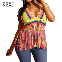 KEXU Rainbow Color Contrast Wool Knit Tassel Sexy Vest Top Elegant Deep V-neck Halter Top Summer New Arrival Retro Fringe Vest fringe decoration lace contrast chiffon top