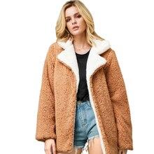 цены на Liva girl Faux Fur Coat Women 2019 Winter Warm Turn Down Collar Fur Jacket Female Plush Overcoat Casual Fake Fur Outwear  в интернет-магазинах