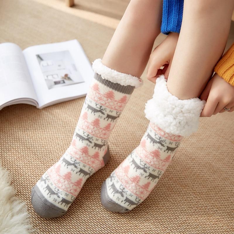 Для женщин и девочек рождественские носки из мягкого плюша; Пушистые носки толстые теплые носки Женская зимняя обувь на меху с флисовой под...