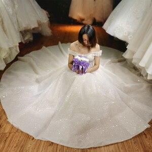 Image 1 - 2020 yeni tasarım lüks tam boncuk üst gelinlik dubai bling bling gelinlik custom made düğün gowng