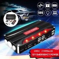 11000 мАч автомобильное пусковое устройство, 4USB мульти-Функция Powerbank Батарея источник питания, набор для детей возрастом от 12V 4.0L бензин 2.5L диз...