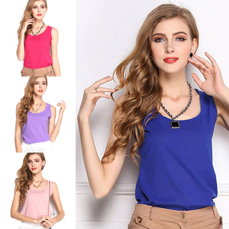 New Casual Fashion Tank Summer T-Shirt Vest Tops Chiffon Womens Sleeveless Casual Cotton O-Neck Fashion Solid Sleeveless
