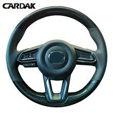 цена на CARDAK Black Leather Carbon fiber leather Car Steering Wheel Cover For Mazda CX-3 CX3 CX-5 CX5 2017 2018 Mazda 6 CX-9