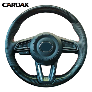 CARDAK Black Leather Carbon fiber leather Car Steering Wheel Cover For Mazda CX-3 CX3 CX-5 CX5 2017 2018 Mazda 6 CX-9 dsg carbon fiber steering wheel shift gear paddle extension shifter extended fit for mazda 3 6 cx3 cx4 cx5 mx5 accessories
