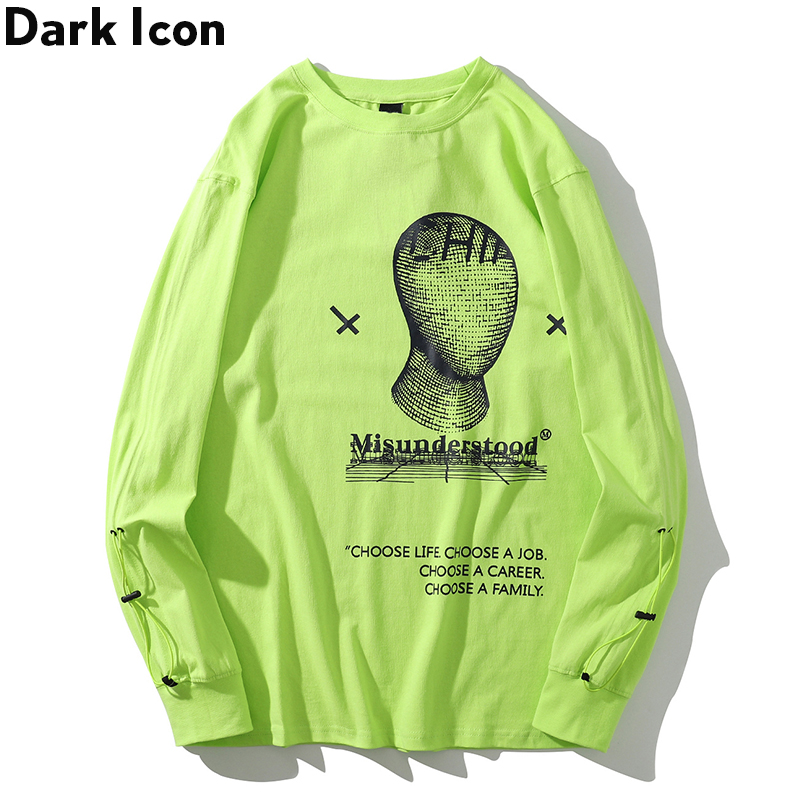 Thread Face String Sleeve Hip Hop T-shirt Long Sleeve Printed Streetwear Men's Tshirt Cotton Street Fluorescent Green Tee Shirt