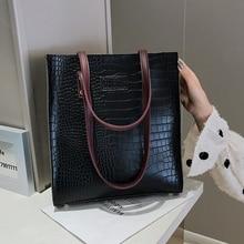 цена на Black Women Shoulder Bags Female Shopping Hand Bag Croco Bolsas Feminina Oil Wax Leather Large Totes Messenger Lady Shopper Bags