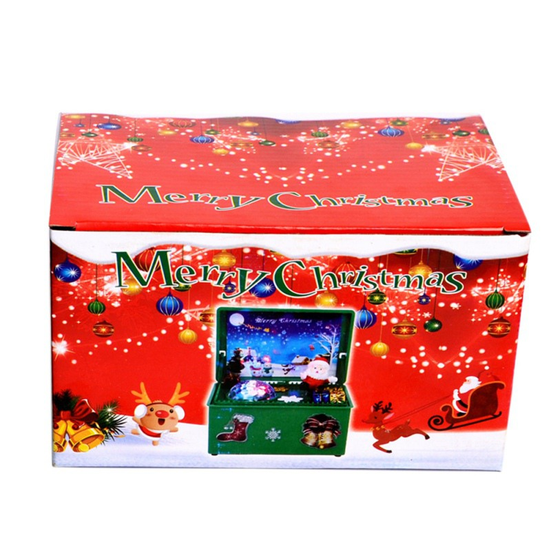 Christmas Gift for Children Glowing Carved Christmas Music Box Christmas songs with Colorful lights flashing Wood Music Box hot image