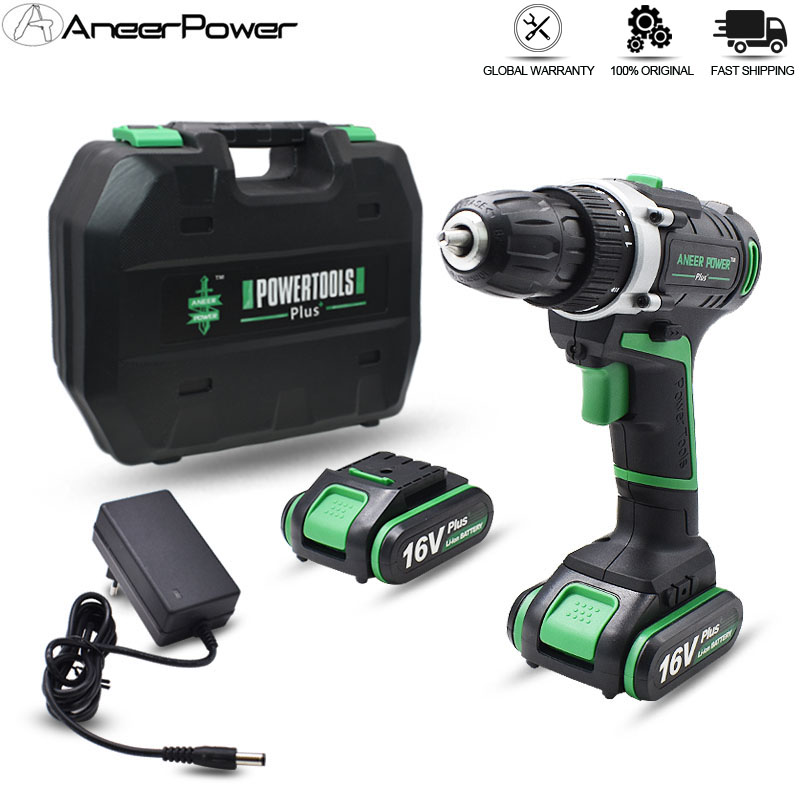 16V Home Decoration Drilling DIY Power Tools Screwdriver Cordless Hand Electric Drill Rechargeable 2 Battery Tool Box Packaging