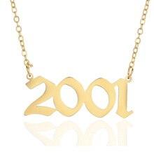Gepersonaliseerde Bruiloft Datum Ketting Anniversary Sieraden 2001 2002 2003 2004 2005 2006 2007 2008 Custom Geboorte Jaar Kettingen Bff