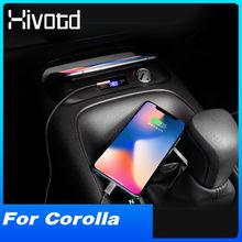 Hivotd Auto QI Drahtlose Ladegerät Innen Auto Zubehör Telefon Schnelle Lade Pad Halter Für Toyota Corolla E210 2019 2020 2021