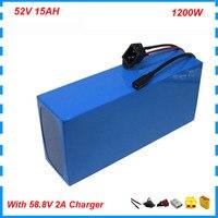 1000w 52v 14s bateria de lítio akku 52v 15ah bateria de bicicleta elétrica baterias ebike 30a bms 58.8v 2a