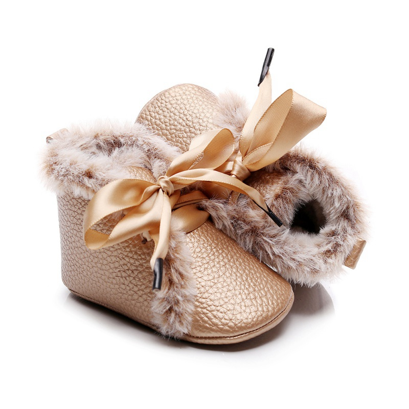 Newborn Baby Boys Girls PU Boots Winter Anti-slip Velvet Warm First Walkers Soft Soled Booties Toddler Bowknot Lace-up Shoes