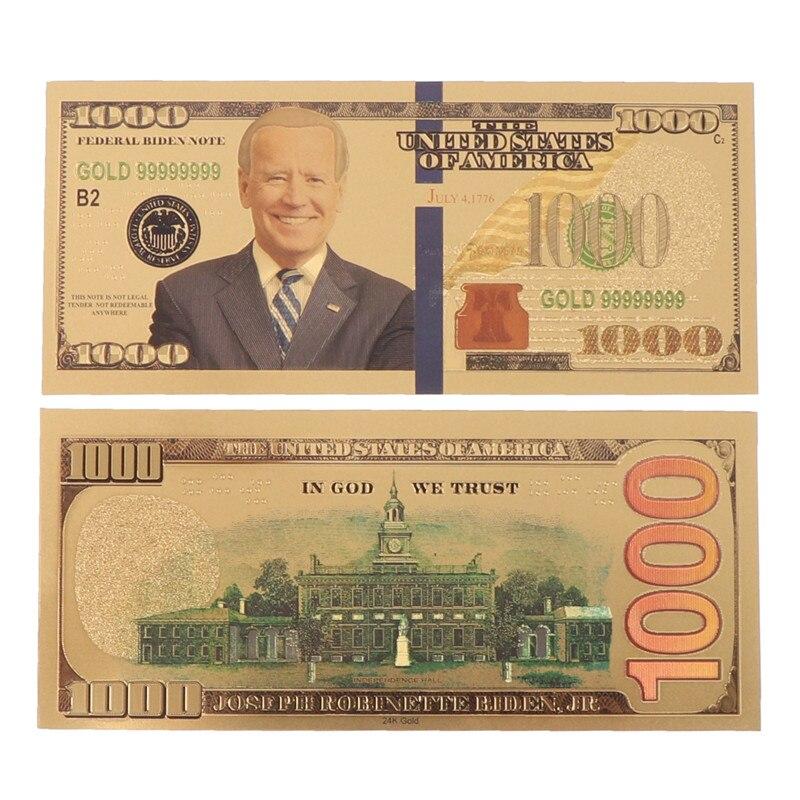 Nouveau Biden amérique élection présidentielle plaqué or commémoratif billets de banque Collection Arts cadeaux pièce de Souvenir
