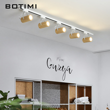 BOTIMI Adjustable Modern 220V LED Ceiling Lights Wooden Tracking Lamp Coffee Shop Surface Mounted Kitchen Lighting