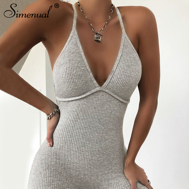 Simenual V Neck Backless Criss Cross Bodycon Rompers Womens Jumpsuit Strap Sporty Workout Skinny Active Wear Solid Jumpsuits New