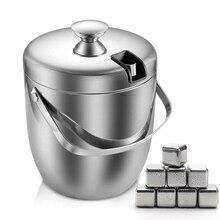 Seau à glace isolé 2,8 l à Double paroi en acier inoxydable, seau à glace isolé avec couvercle et pierres à friser pour refroidir la bière, le vin et le vin
