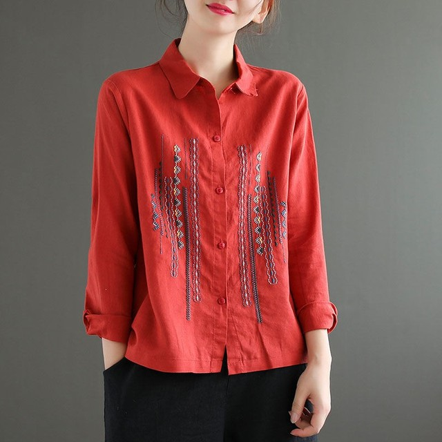 Plus Size Women Blouses Shirts New 2020 Autumn Vintage Embroidery High Quality Female Long Sleeve Cotton Linen Tops Shirt P1287 5