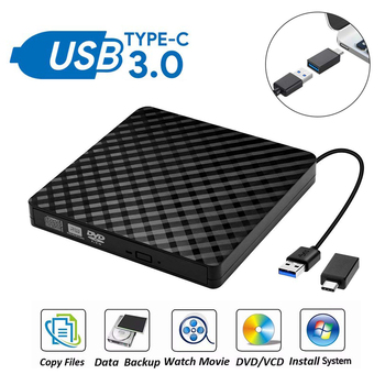 External DVD Drive USB3.0 Type C DVD RW CD Rewriter Burner Portable Optical Drive Player For PC Laptop Mac OS Windows 10 7 8 XP usb 3 0 dvd drive external dvd rw cd writer drive burner reader player optical drives for laptop pc