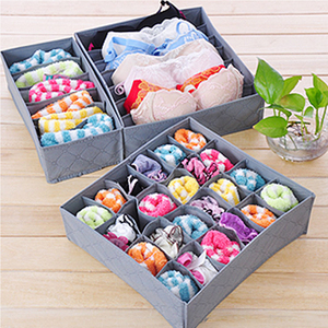 3PCS Fabric Bamboo Fiber Storage Box Bra Underwear Organizer With Handles Cloth Organizer Wardrobe Storage Box