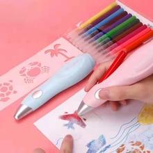 Tenwin conjunto de caneta spray elétrica, conjunto de pincel em spray, multifuncional, pintura a jato de tinta, spray lavável, pintura a mão desenhada 8084