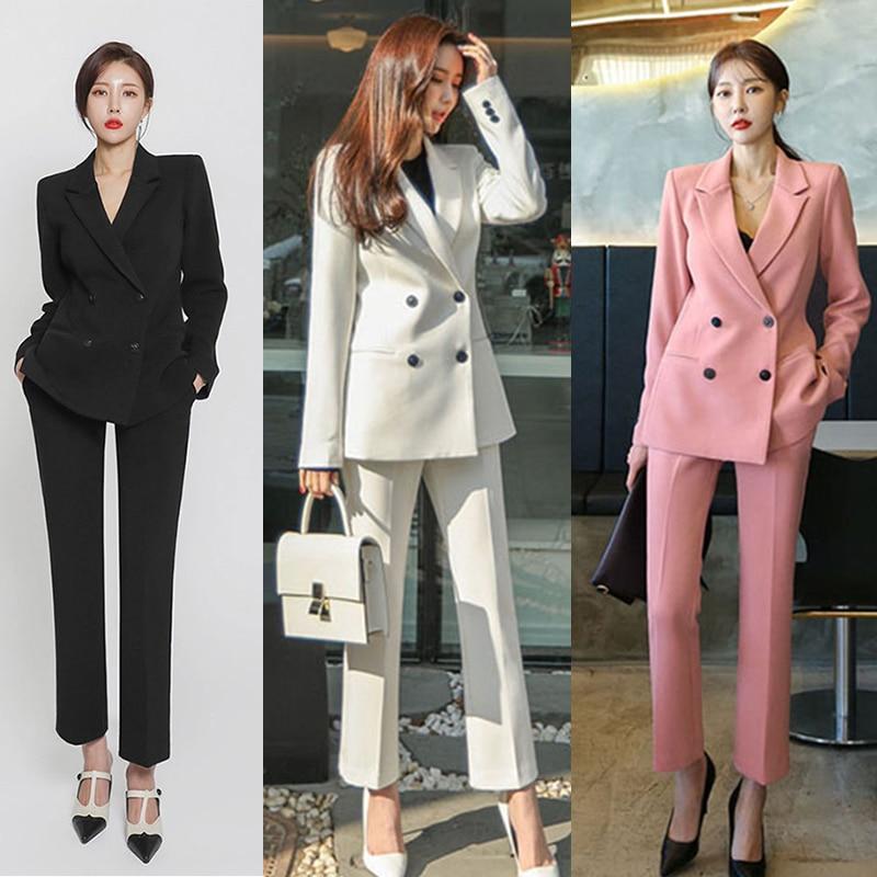 Spring And Autumn New Professional Suit Women's Pants Suit Temperament Slim Was Thin Fashion Suit Work Dress